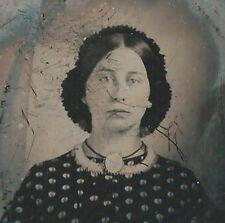 CIVIL WAR ERA AMBROTYPE PHOTOGRAPH BEAUTIFUL LADY WITH BROOCH &  BLUE EYES