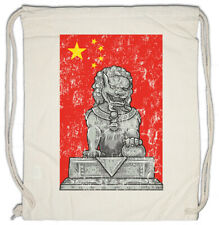 Chinese Lion Statue And Flag Turnbeutel China Asia Flag Banner Dragon