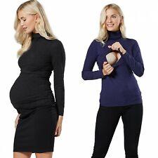 ZETA VILLE Women's Maternity Nursing Roll Neck Layered Long Sleeve Top 1289