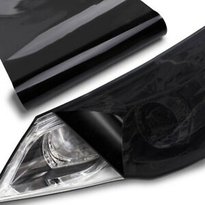Dark Smoke Black Film Tint Sticker 30*100cm Headlight Tail Fog Light Cover Trim