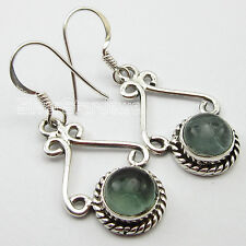 """925"" Pure Silver Real CABOCHON APATITE GIRLS' WOMEN'S LADIES' Earrings 1.3"""