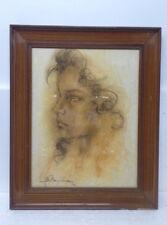 Ritratto di donna a carboncino Mariella Sapienza Catania Anno 1984