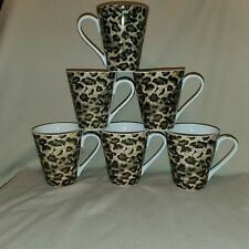 TIENSHAN LEOPARD CUPS MUGS - SET OF 6- NEVER USED