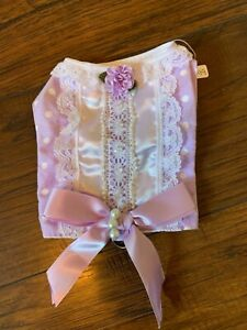 New Handmade Dog Puppy Harness Vest Violet Polka Dot Lace Pearl Satin Bow XS