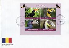 Chad 2018 FDC Hornbills Hornbill 4v M/S Cover Birds Stamps