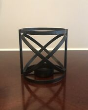 Geometric Tea Light Candle Holder Black Metal