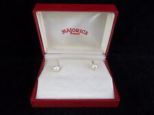 Vintage Majorica International Simulated Pearl 14k Gold Screw Back Earrings
