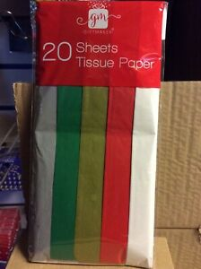 20 Sheets Of  TISSUE PAPER ASST PLAIN COLOURS