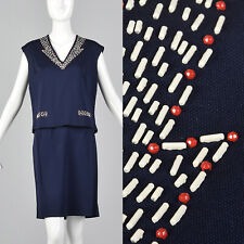M 1960s Navy Blue Set Casual Polyester Separates Boxy Top Pencil Skirt 60s VTG