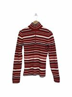 Tommy Hilfiger Red Striped Jumper Sweater Pullover 1/4 Zip Up - Large