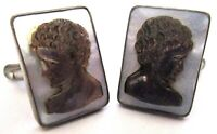 Sterling Silver Carved Mother of Pearl Shell Cameo Vintage Cuff Links