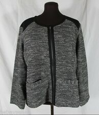 Eileen Fisher Black Tweedy Knit Cotton Cardigan Ponte Panels Zipper Plus 2X NWT
