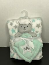 Baby Gear Green White Star Fleece Blanket 30x36 & Lamb Lovey So Sweet New