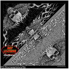 """Hot Leathers Bandana Bad Scratch """"Live Fast, Live Hard"""" skulls w/ wings BAB1053"""
