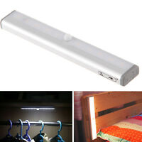 10 LED Wireless PIR Motion Sensor Closet Cabinet LED Night Stairs Step Light Bar