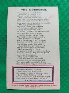 WWI Patriotic Propoganda Postcard The Murderer W H Casmey Milnthorpe Unposted