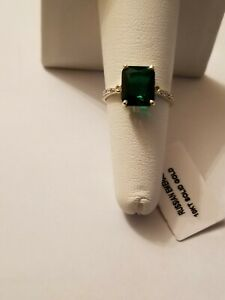 3.00 CT RUSSIAN EMERALD & (8 PCS) DIAMOND 10KT SOLID YELLOW GOLD RING SIZE 6.5
