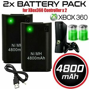 2 Battery Pack Rechargeable 4800mAh USB Charger Cable For XBox 360 Controller