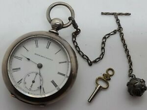 Antique Working 1887 ELGIN Victorian 'Key Wind' Coin Silver Pocket Watch w/Chain