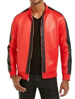 INC Mens Bomber Jacket Red Black Size 2XL Quilted Pleather-Trim Full-Zip $79 340