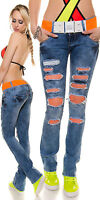 Sexy New Women Clubbing Boot-Cut Jeans Ladies Trouser Size 6 8 10 12 14 Blue S M