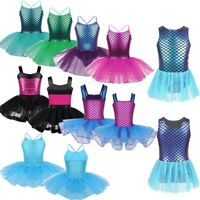 Kids Girls Ballet Dance Leotard Tutu Skirt Gymnastics Mermaid Dancewear Costume