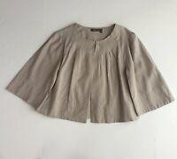 Max Azria Tex Jacket Womens Size Small Tan Hook & Eye Swing Blazer Linen Blend