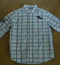 Modisches Kinderhemd, weiß/grau/blau, Gr.152, Applikationen, wenig getragen