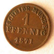 1871 GERMAN STATES (HESEEN) PFENNIG - AU - Rare Excellent Coin - Lot #M19