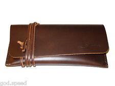 Genuine Saddleback Leather Script Logo SOFT SUNGLASS EYEGLASS PEN CASE in DCB