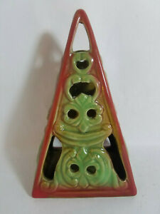 "Ceramic 6"" Tall Pyramid Shaped Tea Light Votive Candle Holder - New Old Stock"