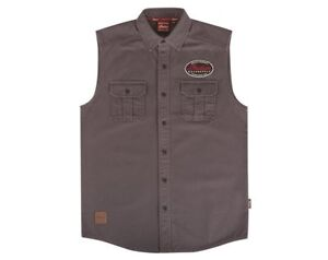Genuine Indian Motorcycle Men's Sleeveless Canvas Gray Shirt Size Small
