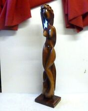 "Art Deco Carved Hardwood Nude Sculpture 34"" Signed 'CF'"