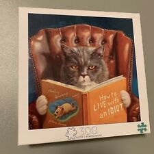 Cat Reading How To LIVE With An Idiot Book 300 Piece Jigsaw Puzzle-FREE SHIPPING