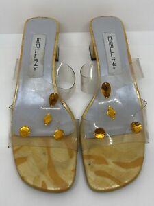 Bellini Womens Mustard Yellow Clear Heels Slip On Shoes Size 8 W