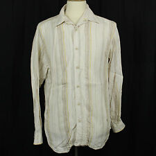 Tommy Bahama Tan Stripe Wood Button Linen Long Sleeve Casual Shirt Men Sz M