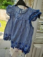 blue white embroidered gingham check dress blue lace AGE 3-4 years Girls new