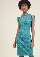 NEW Liza Luxe Modcloth Jade Green Mock Neck Lace Sheath Dress Size Large