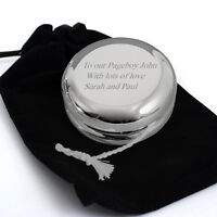 Personalised Engraved Silver Finished YoYo & Velvet Pouch - Font Choice -Baptism