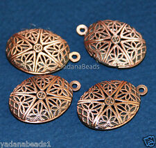 5 Antique Copper Filigree Oval Locket Pendants 24x16mm