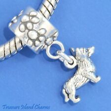 WELSH CORGI DOG BREED .925 Solid Sterling Silver EUROPEAN Dangle Bead Charm