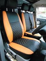 TO FIT A VW TRANSPORTER T5 VAN, SEAT COVERS, 2006, ORANGE / BK BENTLEY DIAMOND
