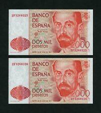 F.C. PAREJA CORRELATIVA 2000 PESETAS 1980 , SERIE 2F , S/C .