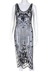 Miguelina Womens Mesh Sequin Embellished Sleeveless V Neck Dress Black Size S