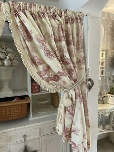 Vintage Red & Ivory French Toile Bullion Fringe Country Cottage Wide Curtains