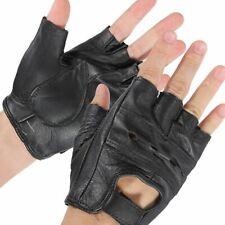Men Genuine Leather Gloves Half Finger Fingerless Motorcycle Driving Black Bike