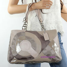 NWT Coach Inlaid Patchwork Fabric & Leather Chain Tote Shoulder Bag F20013 RARE