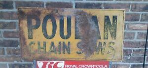 Original Poulan Chainsaw Vintage 1960s Tin Advertising Sign