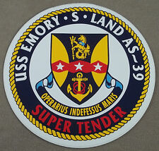 "US Navy Decal - Sticker - USS Emory S. Land AS-39 ( 4 1/2"" Diameter )"