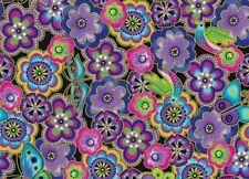 Laurel Burch Dogs & Doggies Floral Fabric Y1801-28M Dark Purple Metallic BTY